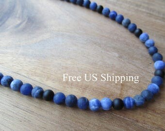 Men's Matte Sodalite & Matte Onyx Beaded Necklace, 6mm, Mens Necklace, Matte Black Onyx, Long Necklace, Mens Jewelry, Gift Ideas for Men Him