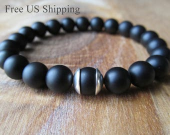 Sterling Silver and Black Onyx Bracelet, Matte Black Onyx, Beaded Bracelet, Gemstone Bracelet, Gift for Men, Men's Jewelry, Men's Bracelet