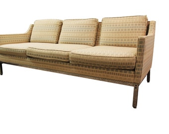 Mid-Century Modern Milo Baughman-Style Geometric Pattern Sofa on Chrome Legs