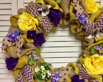 """Ready to Ship! 22"""" Yellow and Purple Burlap Wreath, Yellow Wreath, Purple Wreath, Summer Wreath, Spring Summer Decor, Gift for Her"""