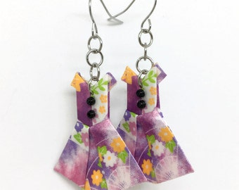 Origami Jewelry - Paper Dress Earrings - Paper Anniversary - Paper Jewelry - Origami Earrings - WC07