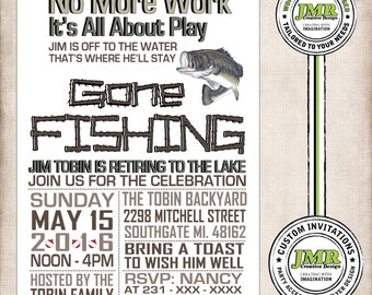 Retirement Party Invitation, Fishing Theme, Gone Fishing