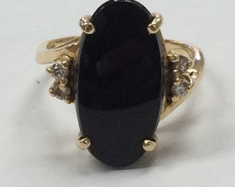 STUNNING Vintage Large Black Onyx DIAMOND RING 14K Yellow Gold Size 5.75