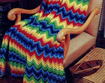 Jewel Tone Classic Chevron Afghan Vintage Crochet Pattern Download