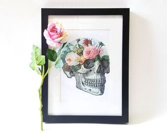 Floral Anatomy Art Skull Art Print Pastel Goth Pastel Grunge Goth Art Gothic Home Decor