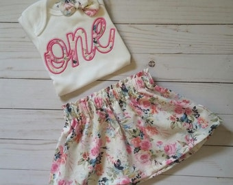 Girl's First Birthday, Floral birthday outfit, birthday skirt set, Tea Party