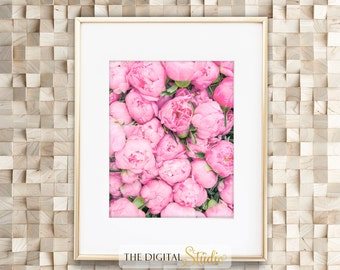 Peonies Printable Art, Peony Print Wall Decor, Gift for her, Girly office decor, Peony Prints, Instant Download, Botanical Print