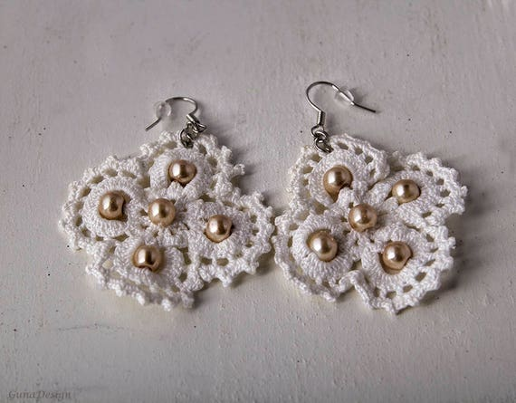 Crochet Lace Flower Earrings with Beads
