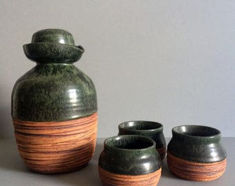 1970s Handmade Ceramic Cup and Decanter Set