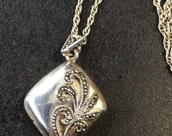 Silver marcasite locket on chain