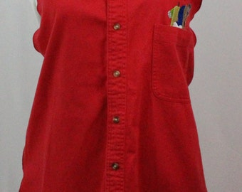 Dress Shirt Apron, size large, color red, Free personalized name embroidered above utensils