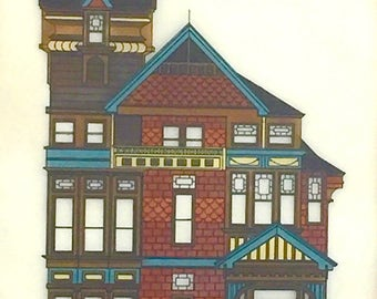 Vintage Signed Victorian Architecture House Print on Vellum - Franklin Street San Francisco - Painted Ladies 1976
