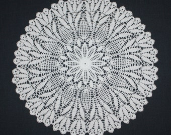 Large Crochet Doily, Pineapple Crochet Doily, Lace Flower Doily, Cotton Doily, Crochet Centerpiece, Table Topper 15 inches