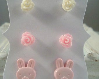 Pink Bunny Earrings Pink White Rose Posts