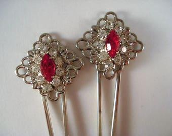 Red Rhinestone Hair Pins Gatsby Inspired