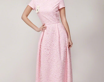 Pink Corded Floral Lace Maxi Length Bridesmaid Dress with Boat Neckline/  Short Sleeve, Long Lace Formal Dress In Custom Colors B110