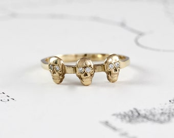 14k Gold & Diamond Tiny Skull Ring In Stock, Yellow Gold Catacomb Triple Skull Stacking Ring, Alternative Bohemian Engagement Wedding Band