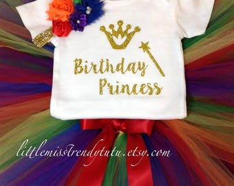 Rainbow Birthday Outfit, First Birthday Tutu Set, Rainbow Birthday Tutu, Rainbow Birthday Shirt Tutu Set, Girls Birthday Outfit, Tutu