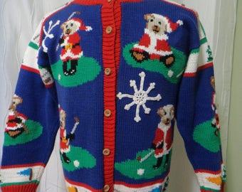 Ugly Christmas Sweater, Golfing Sweater, (Size: Women's Medium/Large?), Santa Bears, Golfing Santa, Two-Sided, Xmas Sweater, Great Colors