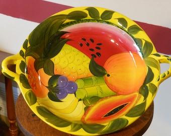 Vintage Signed Talavera Two-Handled Fruit Bowl