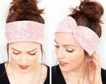 Salmon Turban w Lace Patterns - Coral Headband Coral Turban Headbands n Turbans Yoga Headband Head wrap Women accessories hair accessories