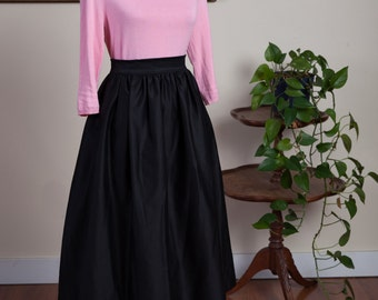 Black Midi Skirt, Black Skirt, Midi Skirt, Office Skirt, Full Skirt, Full Midi Skirt, Black Full Midi Skirt