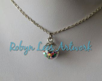 Tiny Glass Globe Charm Necklace with Rainbow Multi Colour Stars on Silver Crossed Chain or Black Faux Suede Cord. Cute, Costume