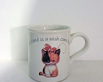 Cat Coffee Mug, Vintage American Greetings Stoneware Mug, Kitty Cat Tea Cup, A Friend Is A Wish Come True, Gifts For Friends, Friends Cup