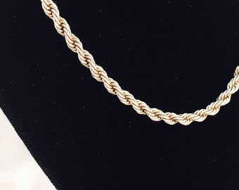 Vintage Sterling Silver Twisted Rope Chain Necklace - 17 Inches - 12.5 Grams