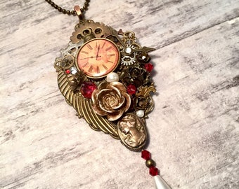 Neo-Victorian Steampunk Necklace, Assemblage Pendant, Steampunk Jewelry, Hollywood Regency, Roses, Pearls, Gears, Red Crystals, Art Nouveau