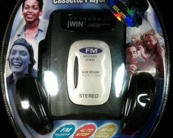 JWIN Personal FM Stereo Cassette Player, JX-B30, Auto Stop, Factory Sealed, Cassette Walkman, Personal Cassette Stereo, Cassette Player
