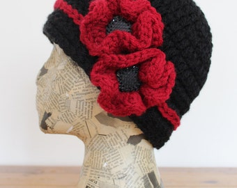 Black Crocheted Cap with Red Flowers