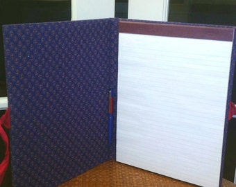 Vintage Anchor Print Binder/Portfolio for Notepad. Covered in Trendy Anchor Fabric, closes w/ Ribbon. Navy blue and Red