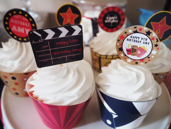 New** Movies HOLLYWOOD Personalised Cupcake Toppers - PRINTABLE Pdf Digital