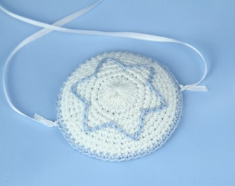 Handmade Crochet (White with  Blue)Star of David baby Kippot