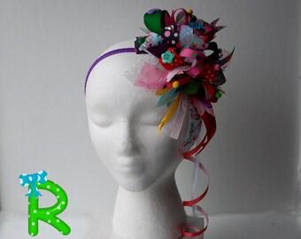 Funky loopy bow , Crazy hair bow , party hair bow , Crazy colorful bow , Funky loopy bubble bow , OTT