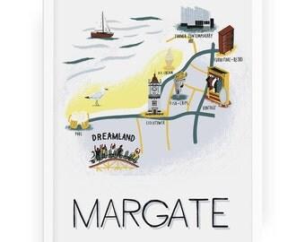 Margate map print - margate illustration, seaside beach margate art seaside illustration dreamland map illustration illustrated map art