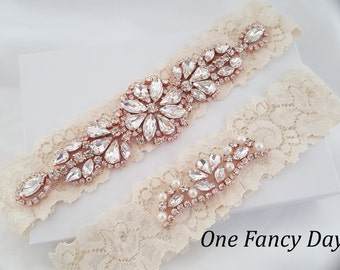 Crystal pearl Wedding Garter Set, Stretch Lace Garter, Rhinestone Crystal Bridal Garters, Rose Gold Garter