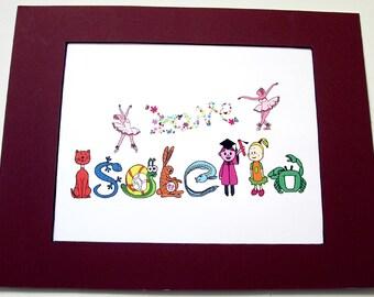 Personalized Ballerina Gift Alphabet Letters Name Art Wall Decor Custom Illustration Animal Clipart Custom Name Gift Keepsake Educational