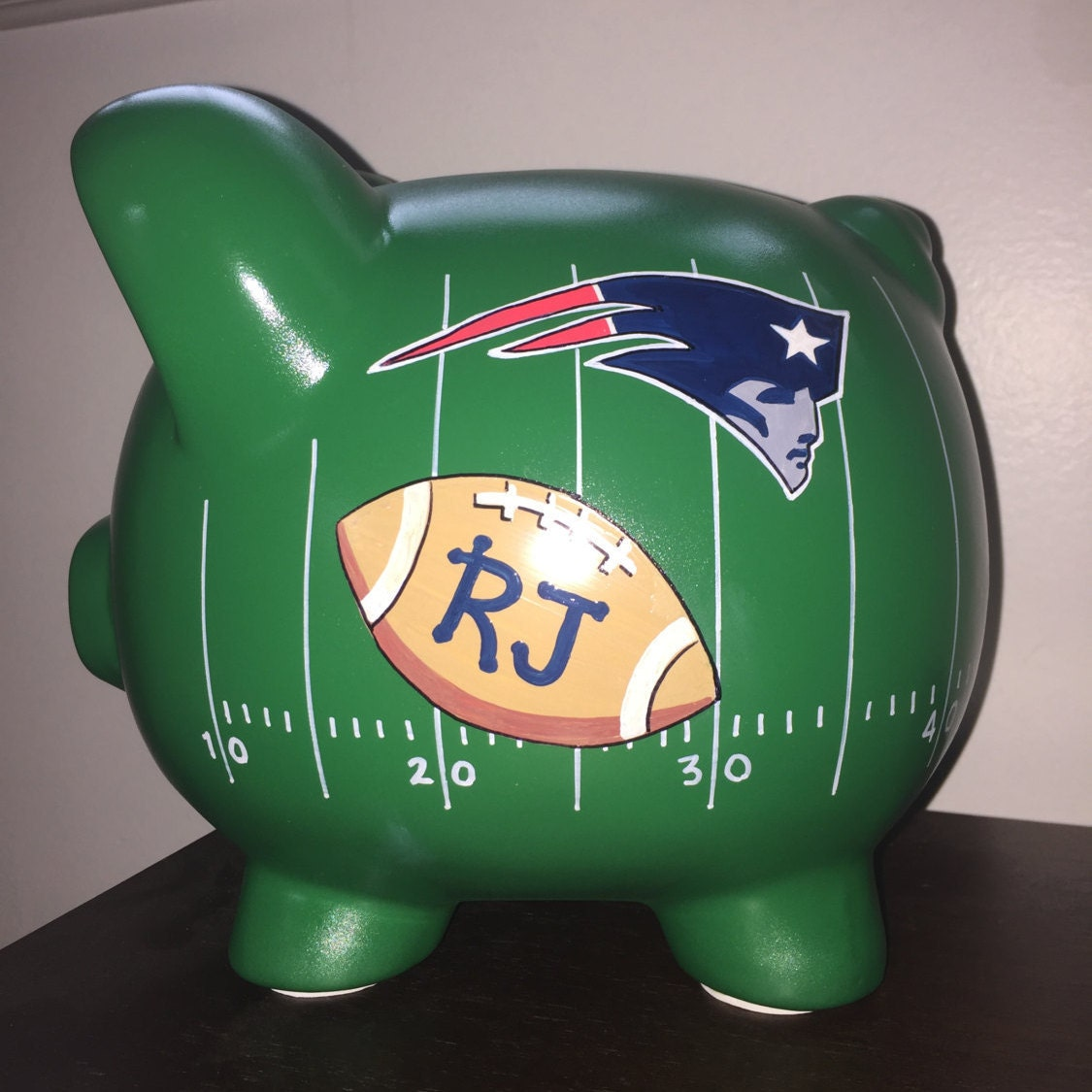 personalized football piggy bank