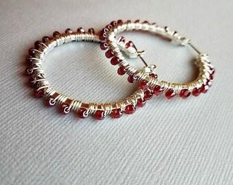 raspberry czech wire wrapped hoops-silver hoop earrings-beaded hoop earrings-czech glass hoop earrings-silver beaded hoop earrings