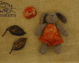 Rabbit in Overalls and Beanie / Rabbit Softie / Alpaca Knitted Rabbit / Baby Shower / Christening Gift / Christmas Gift