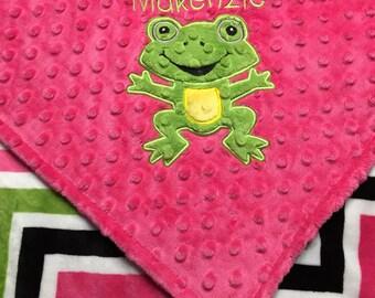 Personalized Minky Blanket, Fuchsia Chevron Smooth Minky with Fuchsia Minky, Frog Blanket