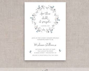 for this child i prayed bible verse baby shower adoption invitation