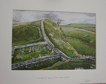 Mounted limited edition colour print of Hadrians Wall painting, Northumberland, England