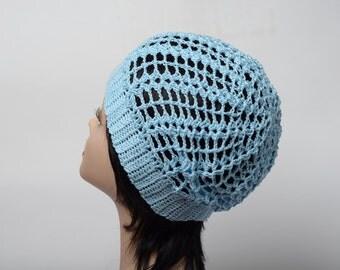 Summer hat crochet blue hat beanie hat women's beret cotton beanie cotton hat summer beanie
