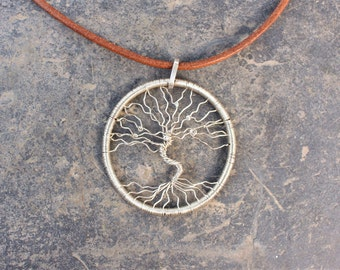 Tree-Of-Life Necklace Pendant 925 sterling Silver Wire Wrapped. Quality handmade jewelry elegant tree design pendant. Leather necklace