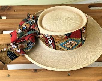 Sun Hat Rolled Brim Guatemalan Hand Woven Palm Leaf/1970s/Extra Small/Colorful Cloth Band/La Giralda