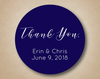 Wedding Stickers Thank You Labels Custom Wedding Favor Stickers Navy Wedding Favors Personalized Favor Tags Thank You Stickers Welcome Bags