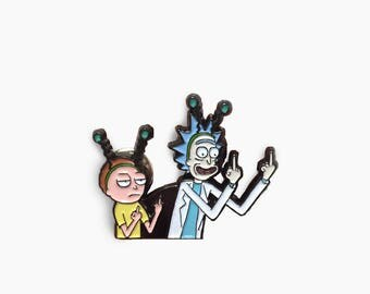 Rick and Morty enamel pin (Rick and Morty pin, Middle finger enamel pin, peace among worlds enamel pin)
